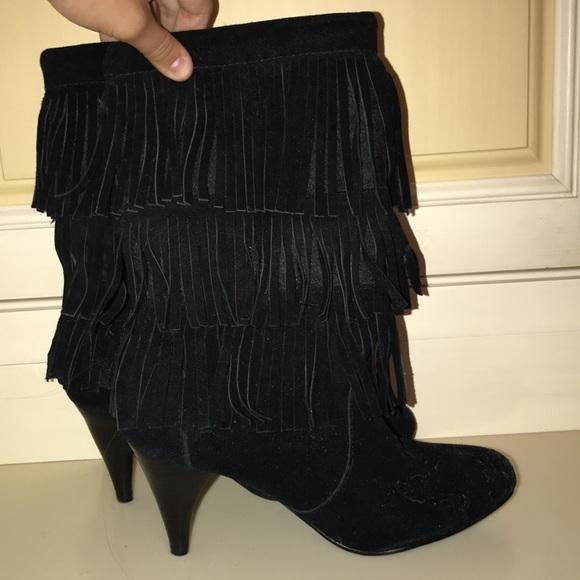 Chinese Laundry Shoes Black Fringe High Heel Boots Poshmark